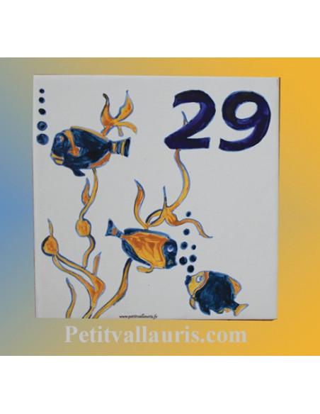 Numéro de Maison pose horizontale décor poissons exotiques chiffre bleu