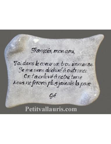 Plaque Funeraire Ceramique Modele Petit Parchemin A Fixer Sur Une Tombe Fond Mouchete Gris