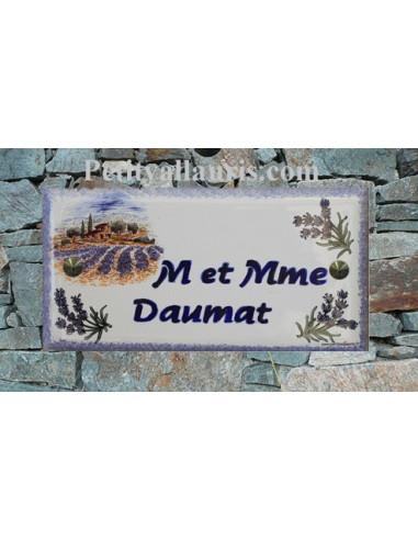 Plaque de maison faience émaillée décor paysage lavande inscription personnalisée bleue