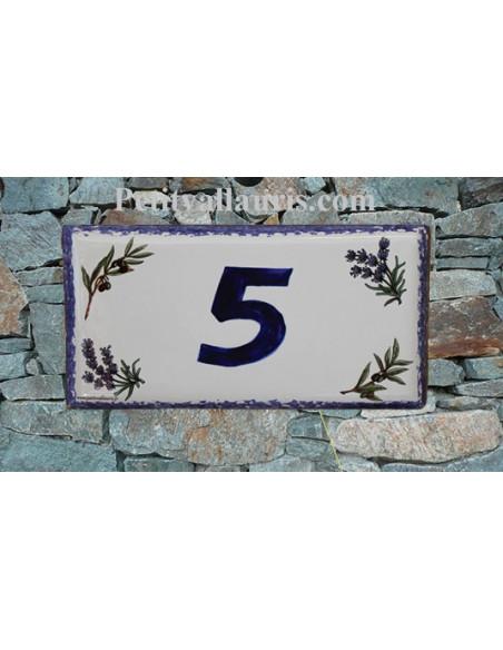 Plaque de maison faience émaillée décor brins de lavandes et d'oliviers inscription personnalisée bleue