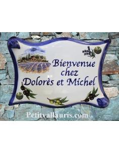 Plaque de maison parchemin en céramique Brin d'olive et de lavande bord bleu