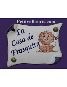 Plaque de Maison parchemin décor personnalisé lion stylisé inscription bleu