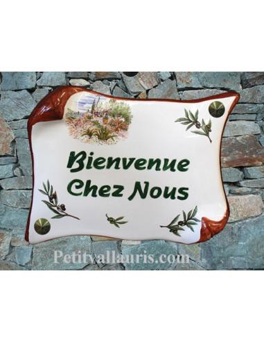 Plaque de Maison parchemin décor cabanon et olivier inscription personnalisée verte bord ocre