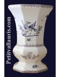Vase en faience modèle Medicis Taille 2 en faïence décor reproduction vieux moustiers bleu