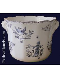 Cache pot droit anse moyen modèle décor Tradition Vieux Moustiers bleu