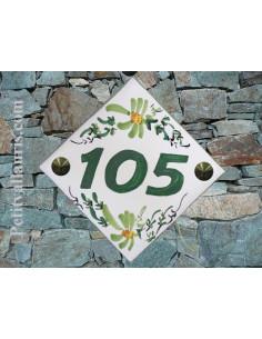 Plaque pour maison carrée lave émaillée décor Tradition Vieux Moustiers nombre 10