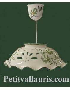 Suspension en céramique blanche décor artisanal fleurs vertes diamètre 37 cm