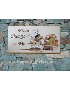 Plaque pour maison en céramique décor Pizzeria