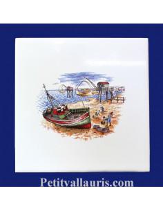 Carrelage décor Marée Atlantique 15 x 15 cm