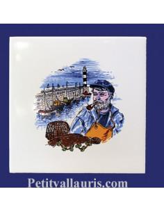 Carrelage décor Loup des mers Atlantique 15 x 15 cm