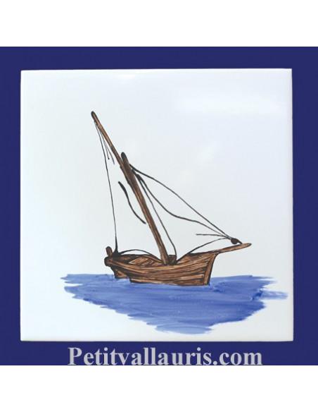 Carrelage mural en faience collection bateaux anciens motif artisanal voilier méditérranéen la Tartane
