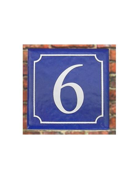 Numéro de rue fond bleu chiffre blanc n°6