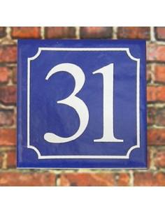Numéro de rue fond bleu chiffre blanc n°27