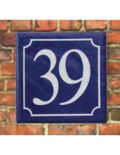 Numéro de rue fond bleu chiffre blanc n°39