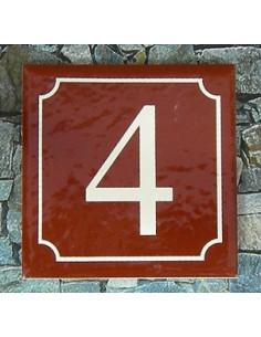 Numéro de rue fond pourpre liseré blanc n° 1