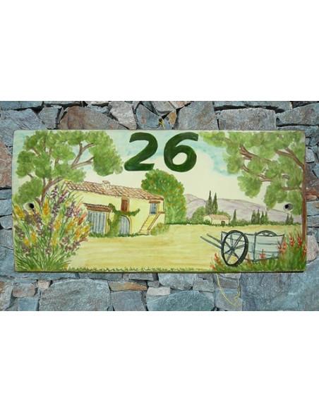 Plaque de Maison en céramique émaillée décor artisanal bastide-fermette et charette + inscription personnalisé