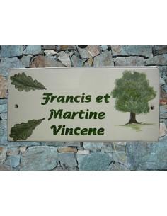 Plaque de Maison rectangle décor personnalisé chêne et feuilles inscription verte