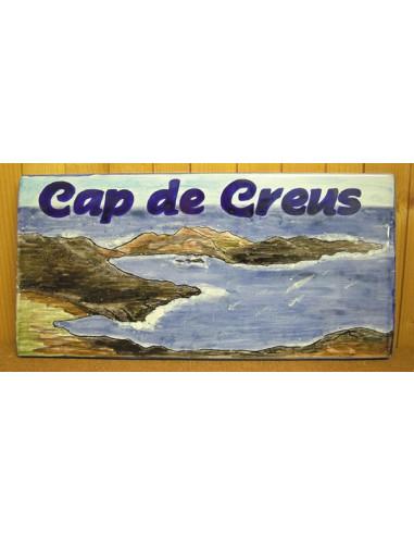 Plaque de Maison rectangle décor personnalisé cap de creus en espagne inscription bleue
