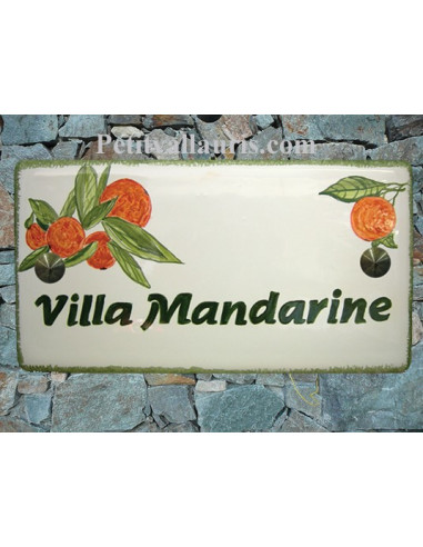 Plaque de Maison rectangle décor personnalisé les mandarines inscription verte