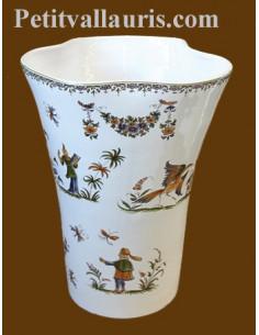 Vase Glaïeul en faïence décor Tradition Vieux Moustiers polychrome H25 cm