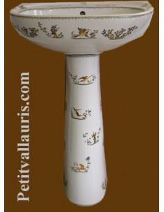 Lavabo avec colonne en porcelaine blanche reproduction décor Tradition Vieux Moustiers polychrome