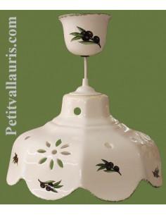 Suspension facette en céramique décor Olives noires