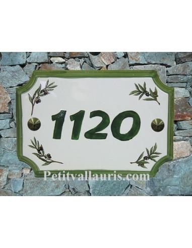 Plaque de Maison rectangle décor brins d'olivier inscription personnalisée et bord vert