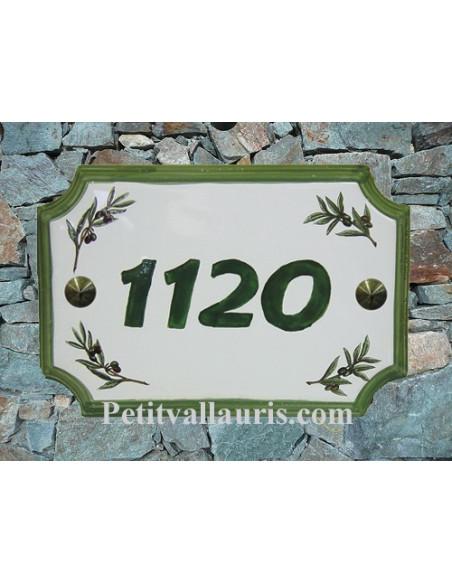 Plaque de Maison en céramique aux angles incurvés motif brins d'olivier + inscription personnalisée