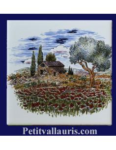 Carreau décor paysage provençal champs de coquelicot 10 x 10 cm