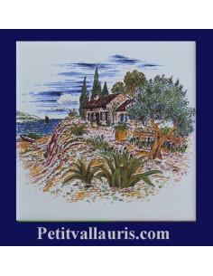 Carreau décor paysage provençal motif bastide et olivier 10 x 10 cm