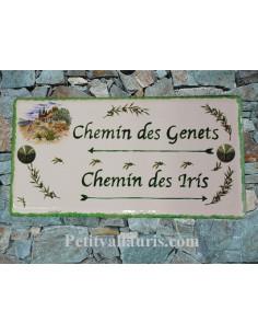 Grande Plaque de Maison rectangulaire en céramique décor Mas Provençal et Brins d'Olives + personnalisation