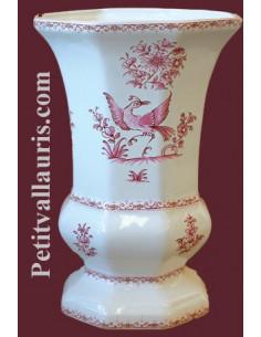Vase Medicis Taille 2 en faïence décor Tradition Vieux Moustiers bleu