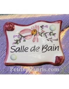 """Plaque de porte parchemin rose """"Salle de bain"""""""