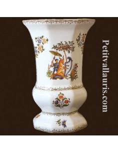 Vase Medicis Taille 2 en faïence décor Tradition Vieux Moustiers polychrome