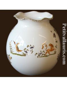 Vase boule dentelle en faïence décor Tradition Vieux Moustiers polychrome