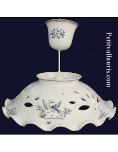 Suspension décorative céramique décor Tradition Vieux Moustiers bleu D35