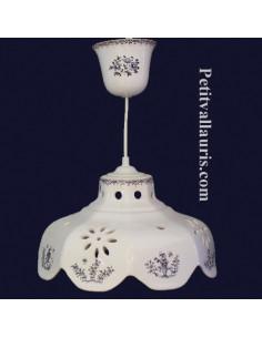 Suspension céramique facette décor Tradition Vieux Moustiers bleu