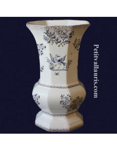 Vase Medicis Taille 1 en faïence décor Tradition Vieux Moustiers bleu