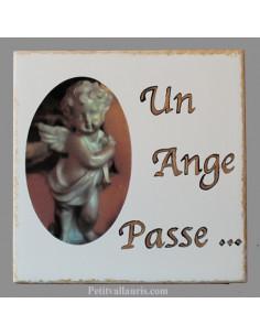 Plaque funéraire à fixer inscription personnalisée décor petit ange