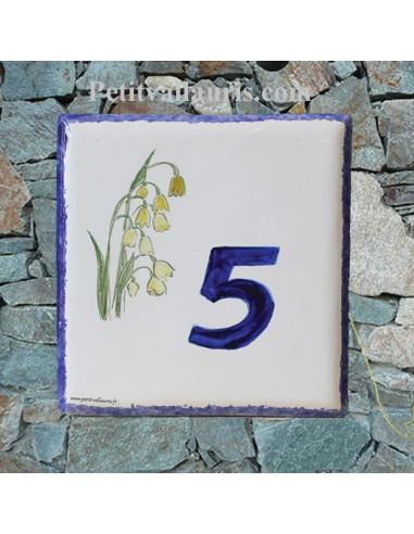 Numéro de Maison pose horizontale décor cactus chiffre bleu