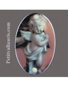 Plaque funéraire ovale avec décor petit ange