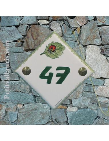 Numéro de maison décor coccinelle pose diagonale