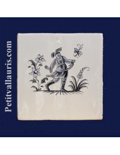 Carreau décor grotesqueTradition Vieux Moustiers bleu ref 5200