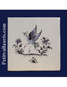 Carreau décor oiseau Tradition Vieux Moustiers bleu ref 5204