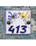 Numéro de rue ou de maison décor fleurs jaune et bleu pose horizontale