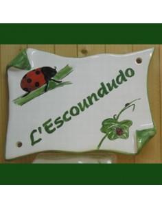 Plaque de Maison parchemin décor coccinelles modèle expo inscription l'Escoundudo