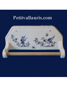 Dérouleur de papier essuie-tout mural décor Tradition Vieux Moustiers bleu