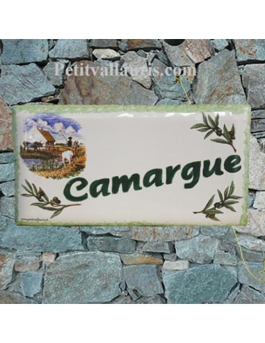 Plaque de maison faience émaillée décor paysage camargue inscription personnalisée verte