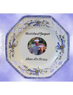 Assiette de Mariage modèle octogonale avec photo décor fleurs bleues