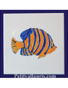 Carreau décor poisson lune n°5 15 x 15 cm